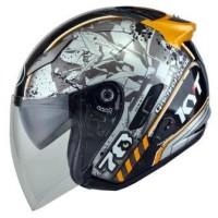 harga Helm Kyt Galaxy Slide Hitam Orange Half Face Double Visor Tokopedia.com
