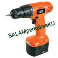 Mesin Bor Cordless 9.6V Black & Decker / Batere + Tools + Box