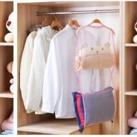 Gantungan Jemuran Jaring Kasa Penyimpanan Laundry Boneka Bantal Guling