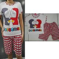 STDR141 - Setelan Selutut Doraemon Polkadot Grey Red