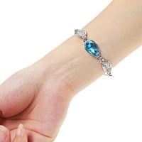 Acacia Leaves Crystal Bracelet 925 Sterling Silver