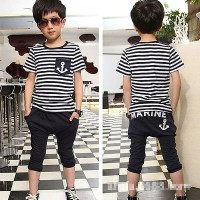 Baju Anak - Setelan Anak Laki Cowok Boy - Sailor Garis Black & White