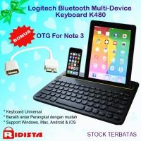 Logitech Bluetooth Multi-Device Keyboard K480 + Bonus OTG For Note 3
