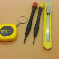 Meteran 100cm, Obeng Minus 2, Cutter Kecil, Set Tool