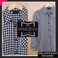 Kemeja Flanel Cewek / Wanita kerja - Zara White Black Flannel