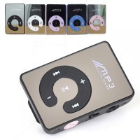 Mini MP3 C-Logo MP3 Player TF Card with Small Clip Silver - Black