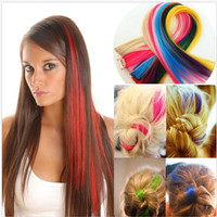 hair extension clip highlight rambut palsu warna warni unik (40cm)