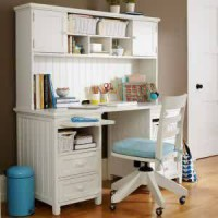 Set Meja Belajar Putih, Meja Kerja, Meja Komputer