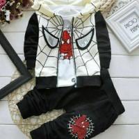 St Spider Kid Black Baju Setelan Anak Pakaian Anak Spider Man