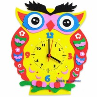 Jam Sticker EVA DIY Gambar Burung Hantu