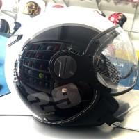harga Helm Pilot Zeus 210 Half Face Black Whte Tokopedia.com