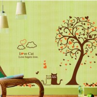 Heart Tree and Cat (AY9017) -60x90- Wall Sticker/Stiker Dinding
