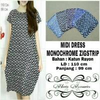 Midi Dress Monochrome Zigstrip / Dress Hamil / Baju Hamil / Daster