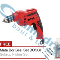BITEC DM 3510 RE Mesin Bor 10 Mm + Mata Bor Besi Set BOSCH 5 Pcs