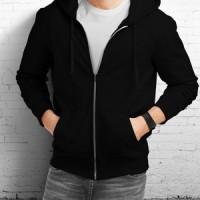 Jaket Sweater Hoodie Zipper Polos Hitam