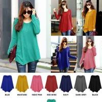 Blouse Kaos Lengan Panjang Polos Baju Atasan Wanita Korea Spandek Blus