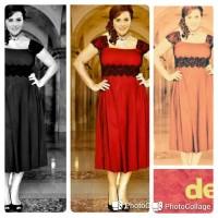 Jual Dress jumbo / bigsize merah / gaun pesta red / XL dan XXL / imlek Murah
