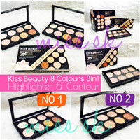 Jual [ 8 Colour ] kiss beauty highlight and contour cream 3 in 1 Murah
