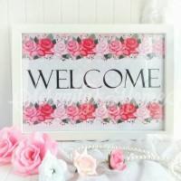 Jual Hiasan Pajangan Dinding / Wall Decor Shabby Chic - WELCOME Murah