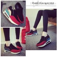Jual 70370 Red Keds PU+Beludru 6cm Sepatu import wanita/high heels/batam Murah