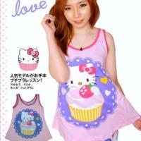 Stelan Tanktop Singlet TT HK Cupcake Pink - Baju Tidur Piyama Kitty
