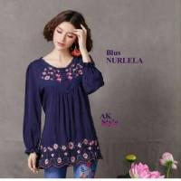 blouse wanita lengan panjang motif bordir bunga (blus nurlela AK)