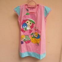 Baju Terusan Anak Perempuan Strawberry Shortcake Pink /Daster /Kaos