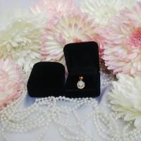 Jual kotak cincin dan perhiasan kalung gelang anting beludru 0023 - hitam Murah