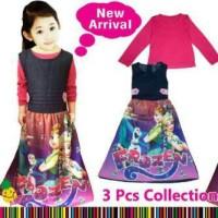 LP - Baju Muslim anak Perempuan Overall Jeans Frozen pink printing