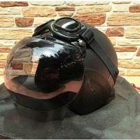 helm retro vespa termurah + kaca bogo + kaca mata google