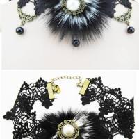 Kalung Lace Black Fur 01 Import Taobao Fashion Wanita Lolita Gothic