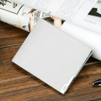 Thin Classic Leather Wallet Men - Light Grey