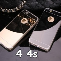 LUXURY MIRROR SILICONE SOFT CASE CASING KACA IPHONE 4 4s SILVER-GOLD