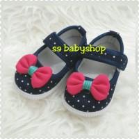 GLA Sepatu Anak Perempuan Hitam Polkadot Pita Pink Bunyi Nyit2 Imut