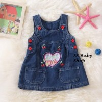GKQ Dress Anak Baby sweet pop girl jeans pita bunga imut pesta