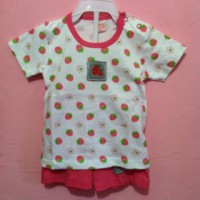 Stelan Kaos Celana Pendek Strawberry for baby by Happy Duck