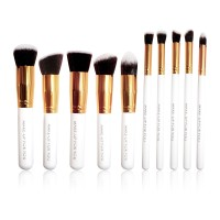 Brush Set Makeup for you - The Basic 10 Luxury White with Gold Bezel