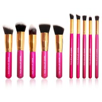 Brush Set Makeup for you - The Basic 10 Ruby Pink with Gold Bezel