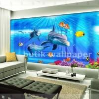 Wallpaper dinding Custom motif aquarium