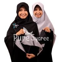 Jilbab syari segi empat Bolak Balik Hitam Putih
