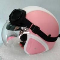 Helm Bogo Retro Klasik Pink Putih Kaca Original + kacamata