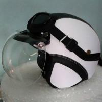 Helm Bogo Retro Klasik Putih Hitam Kaca Original + kacamata