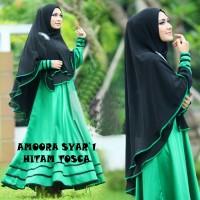 harga Baju Busana Muslim Gamis Amora Syar'i Tosca Hitam Bergo No Pad Busui, Tokopedia.com