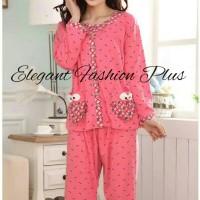 Baju Tidur Kaos Wanita Jumbo - Piyama Wanita Import Big Size - Fanta