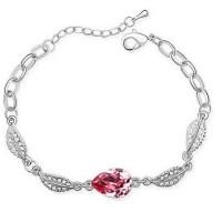 Gelang Wanita Acacia Leaves Crystal Bracelet 925 Sterling Silver -Red