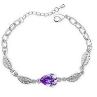 Gelang Wanita Acacia Leaves Crystal Bracelet 925 Sterling Silver -Ungu
