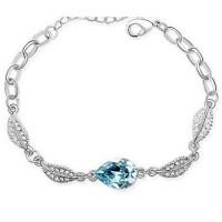 Gelang Wanita Acacia Leaves Crystal Bracelet 925 Sterling Silver -Biru