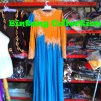 baju dress pesta muslim wanita bahan bludru bordir brukat sifon glamor