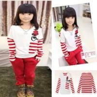 Kid Set Hat Red Stripe , Baju Tidur Piyama Setelan Anak Laki Laki Lucu