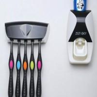 Dispenser Pasta Sikat Gigi / ZGT-SKY Toothpaste Dispenser Brush Holder